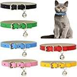 6 Pcs Cat Bell Collars, Adjustable Cat Collar PU Leather Pet Puppy Collar with Safety Buckle for Cats Puppies Tiny Dog Small