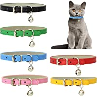 6 Pcs Cat Bell Collars, Adjustable Cat Collar PU Leather Pet Puppy Collar with Safety Buckle for Cats Puppies Tiny Dog…