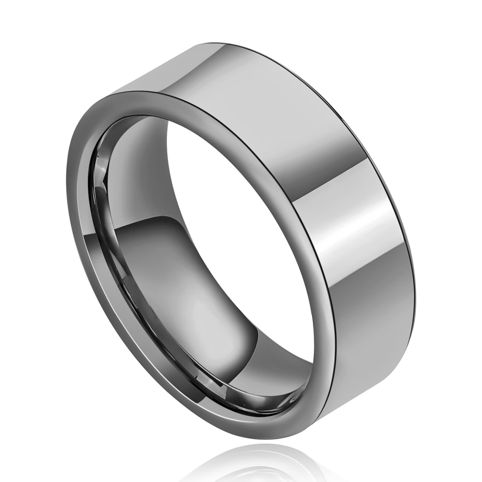 KnSam Stainless Steel Rings for Men Men's Ring High Polished Wide Flat Wedding Band Silver Size 11