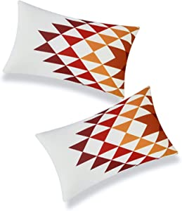 Hofdeco Modern Boho Patio Indoor Outdoor Lumbar Pillow Cover ONLY for Backyard, Couch, Sofa, Dark Red Orange Yellow Aztec Triangles, 12