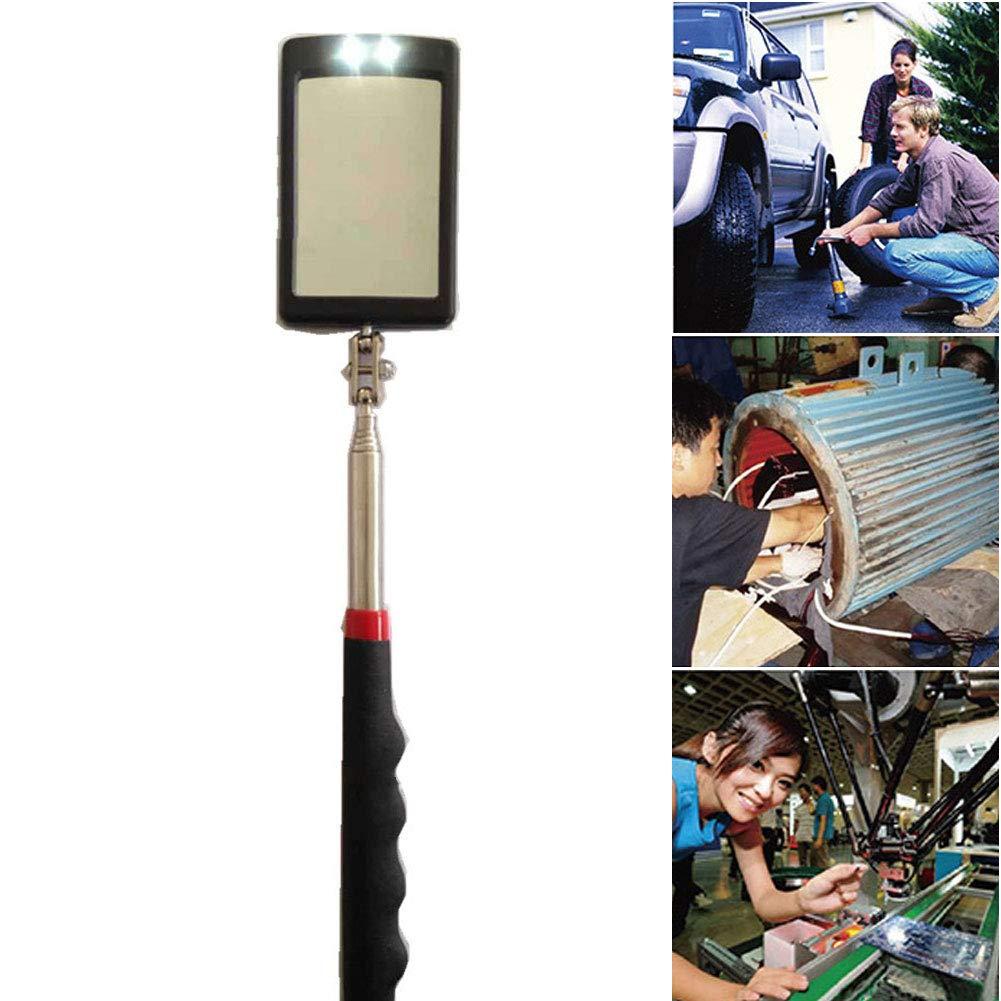 Espejo telesc/ópico de inspecci/ón flexible con luz LED y giro de 360 grados se extiende de 38 a 65 cm telesc/ópico para extender la visualizaci/ón de herramientas generales