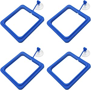 HONJIE Square Fish Feeding Ring Aquarium Fish Tank Suction Cup Floating Food Eco-Friendly Fish Safe Food Feeder Blue Color 4PCS