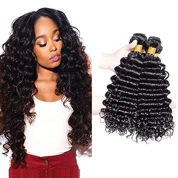 Ali Moda Brazilian Deep Wave 100% Unprocessed 8A Grade Virgin Hair Deep Wave 3 Bundles Remy Human Hair Weaves Natural Black(8 10 12)