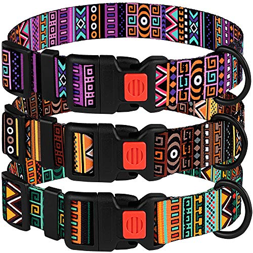 CollarDirect Tribal Dog Collar Aztec Pattern Adjustable Nylon Pet Collars for Small Medium Large Dogs Puppy (Pattern 2, Neck Fit 18