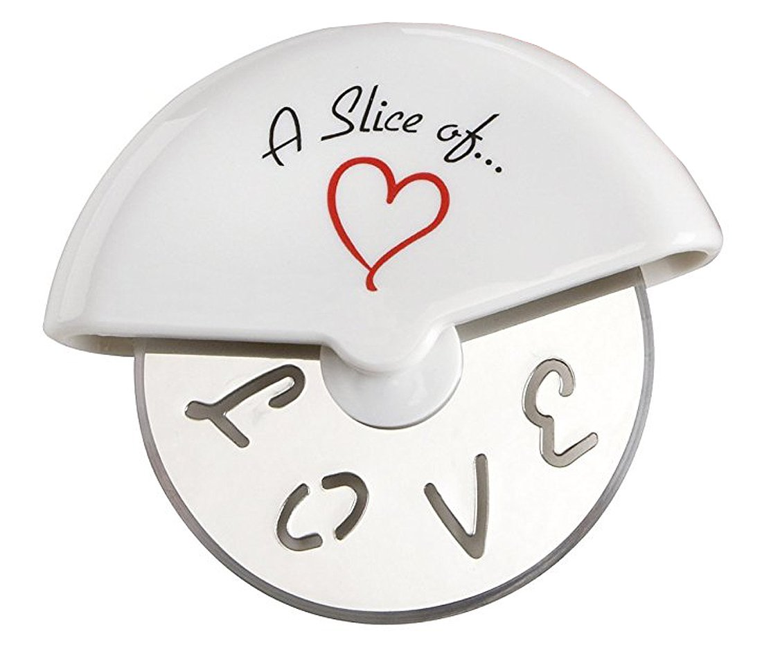 A Slice of Love Stainless-Steel Pizza Cutter in Miniature Pizza Box by Kate Aspen