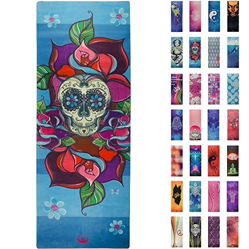 Printed Yoga Mat, Prana Yoga Mat, Bikram Yoga Mat - Incredibly Comfortable Yoga Mats for Men and Women - Gorgeous Printed Designs – Sugar Skull Day of The Dead - Day of The Yoga - Soul Obsssion -