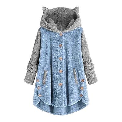 Sttech1 Womens Winter Fleece Coats, Cute Ears Hooded Jackets Single Breasted Warm Asymmetric Hem Outwear with Pockets: Clothing