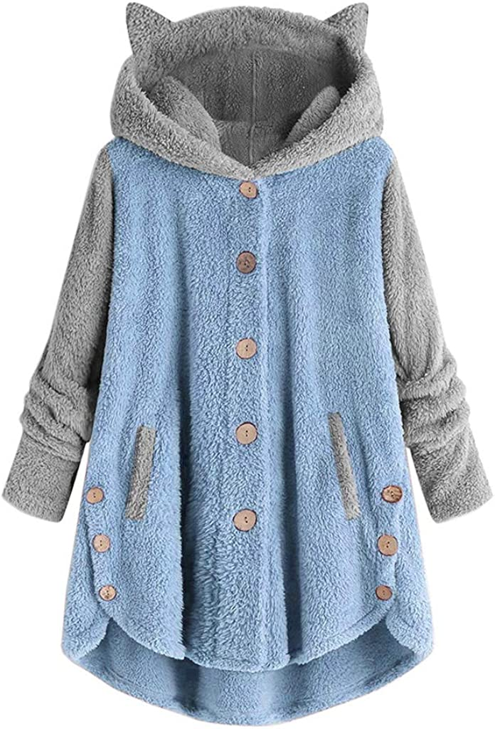 Women Button Coat Patchworl Tops Hooded Pullover Loose Sweater Blouse Plus Size Hoodies Outerwear Coat Overcoat