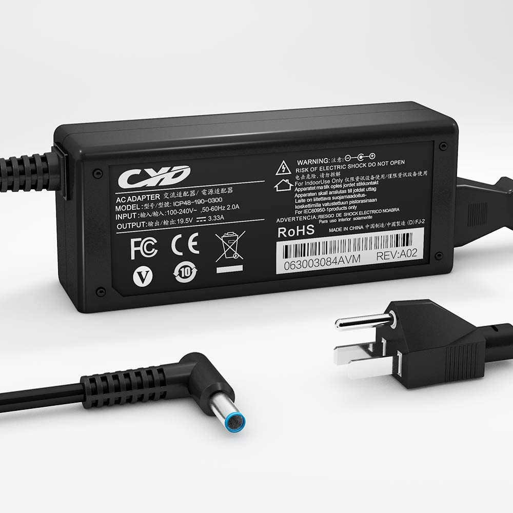 CYD 65W Powerfast Replacement for Laptop-Charger HP Spectre X360 360 13 13t Split X360 Stream 11 13 14 Sleekbook 10 11 14 15 17 Envy 310-G2 17-E127sf 15-R263dx 15-db0015dx Power Adapter Supply Cord