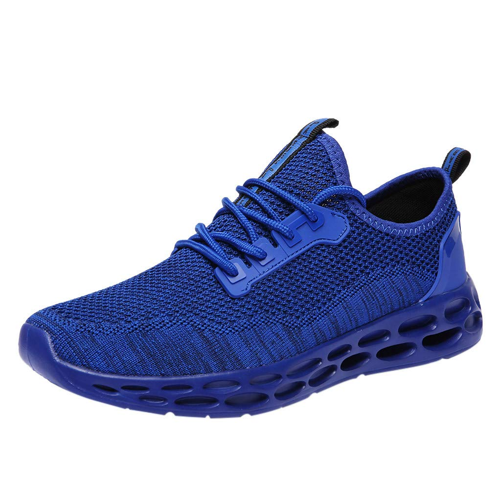 Hiking Boots Miuye Lightweight Honeycomb Sole Gym Shoes Slip-On Breathable Running Shoe Athletic Sneakers Blue