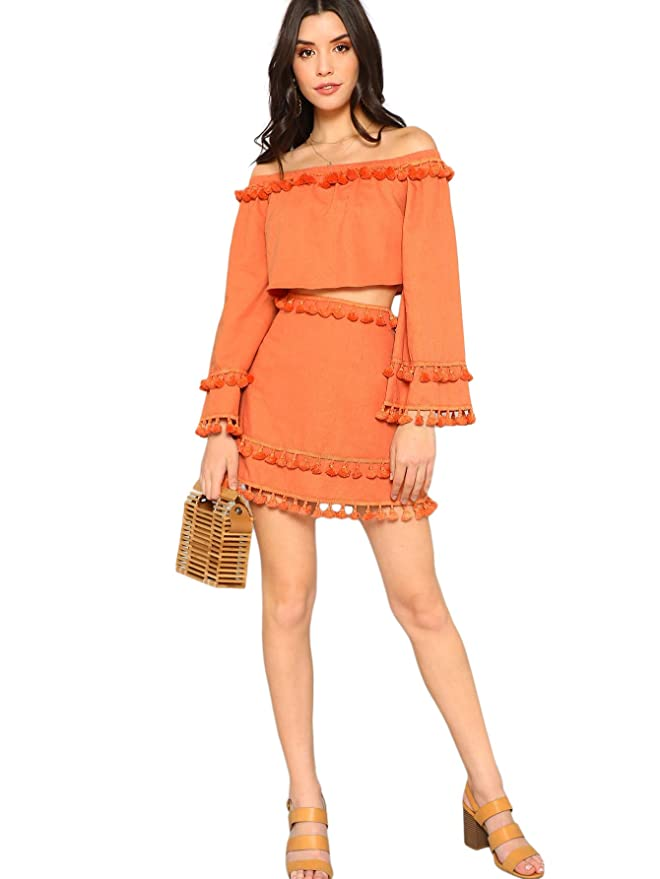 5c5aa7490 SheIn Women's 2 Piece Outfit Fringe Trim Crop Top Skirt Set at Amazon  Women's Clothing store: