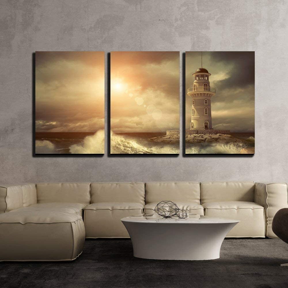 wall26 - 3 Piece Canvas Wall Art - Lighthouse on The Sea Under Sky. - Modern Home Art Stretched and Framed Ready to Hang - 16