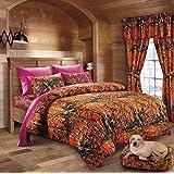 Hunter Camo Comforter, Sheet, & Pillowcase Set ORange & Hot Pink (Twin, Orange & Hot Pink)
