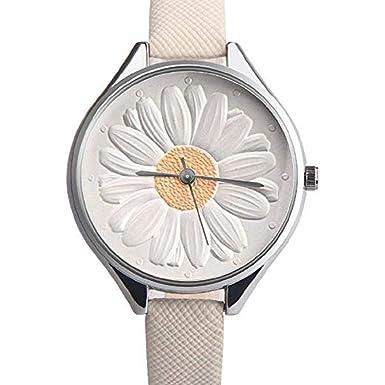 Mujeres Relojes de Cuarzo Liquidación 3D Girasol Floral Analógico Relojes de Las señoras Diseño Retro Relojes de niña Cómodo Delgado de Cuero de PU Relojes ...