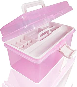 Caja de plástico con dos zonas de almacenamiento y tamaño de 20 x 11,5 x 10,5 cm, ideal para guardar kit de manicura, herramientas u otros objetos, marca Woopower, rosa: Amazon.es: Bricolaje
