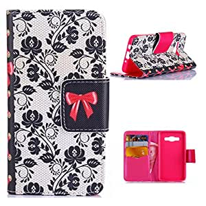 A7 Leather,Candywe Beautiful Print Wallet Style Leather Case Cover For Samsung Galaxy A7 2014 Model 006
