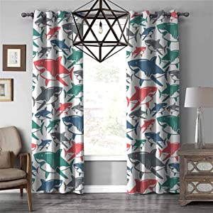 RenteriaDecor Beautiful Curtains, SharkMix of Colorful Bull Shark Family Pattern Masters Survival Predators Dangerous Nature Grommet Window Curtain for Living Room, W108 X L96 Inch