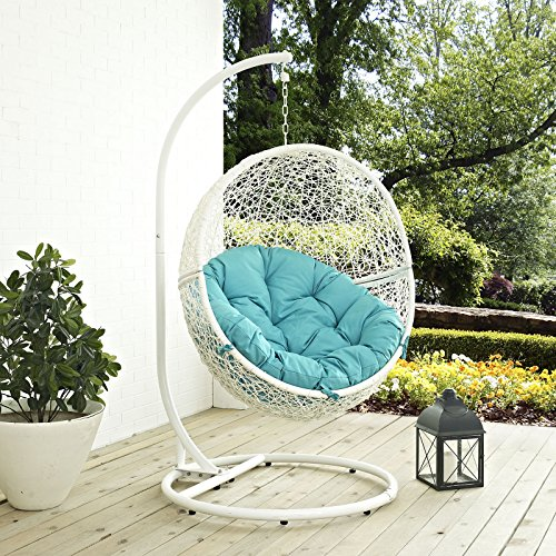 - LexMod EEI-2273-WHI-TRQ Hide Outdoor Patio Swing Chair, White Turquoise