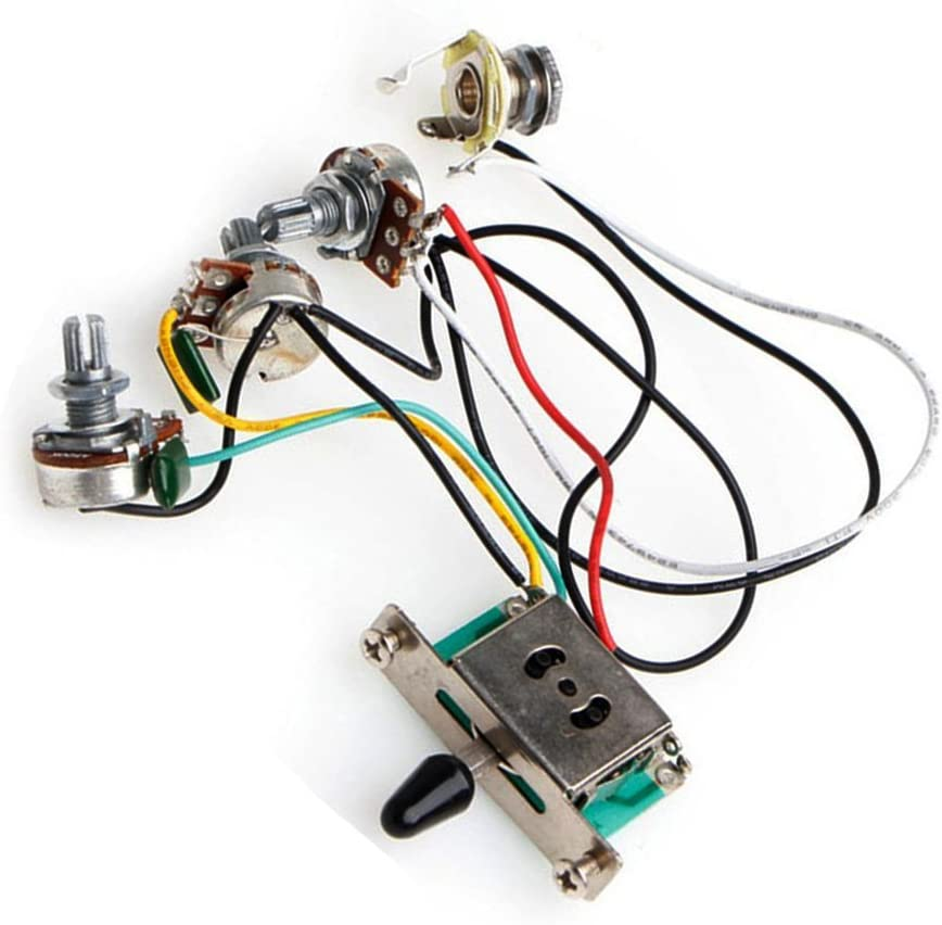 wiring control for guitars amazon com timiy knobs 5 way switch with jack wiring harness kit  amazon com timiy knobs 5 way switch