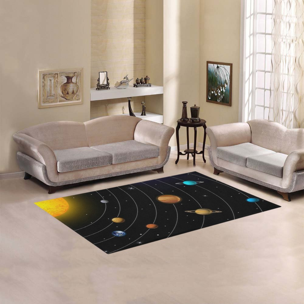 D-Story Sweet Home Art Floor Decor Outer Space Galaxy Solar System Area Rug Carpet Floor Rug 5'x3'3'' For Living Room Bedroom