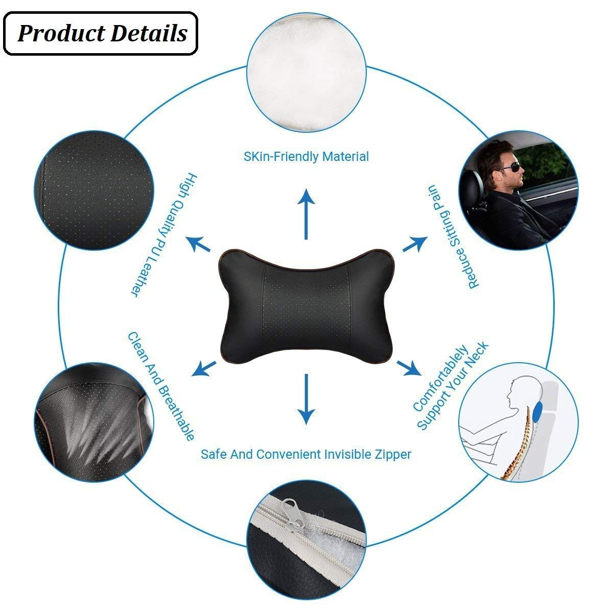 VVHOOY PU Leather Neck Pillow for Car,2 PCS Comfortable Soft Breathable Neck Support Pillow for Driving Head Neck Rest Cushion for Car Seat