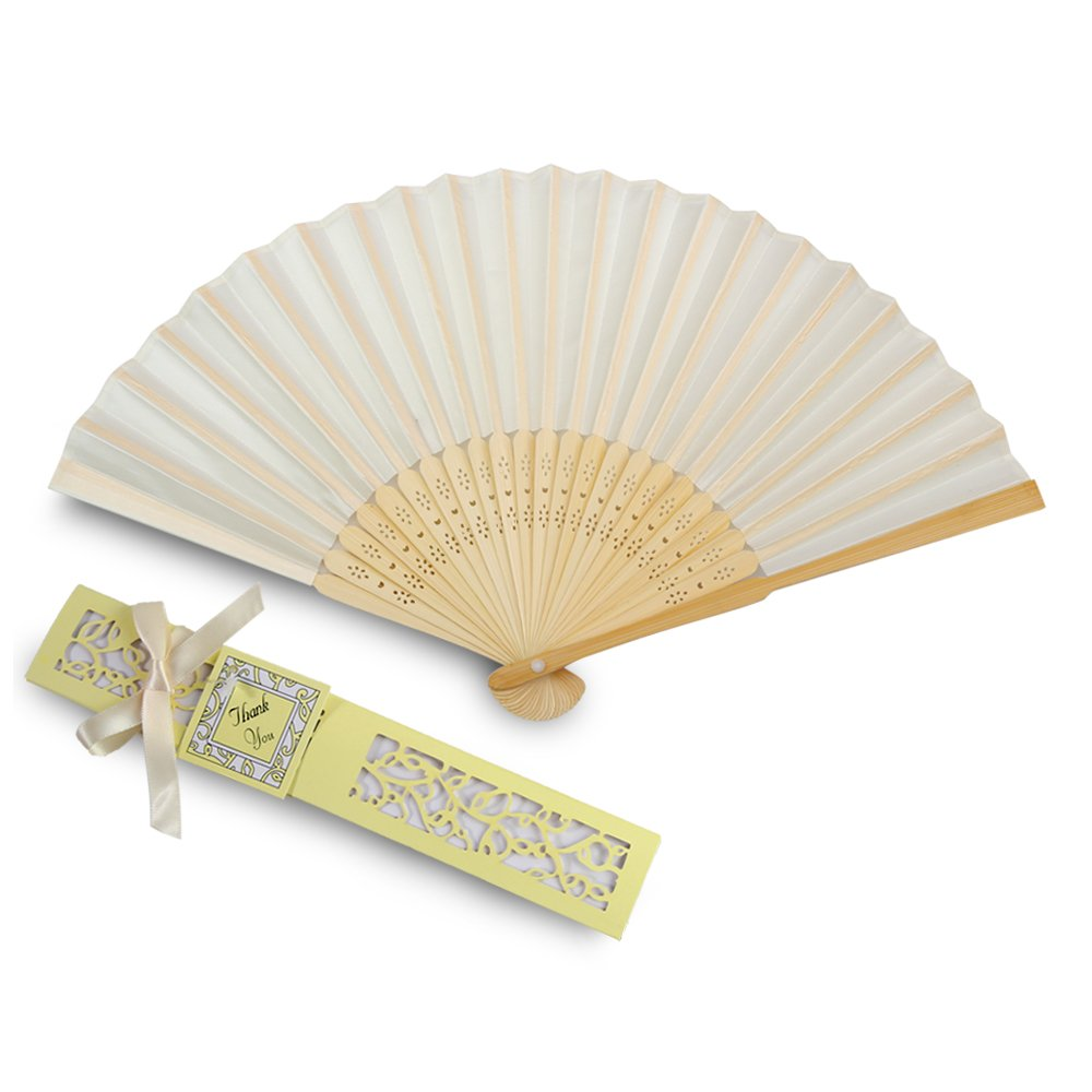 Amazon.com: Doris Home 50pcs Ivory Silk Bamboo Handheld Folded Fan ...