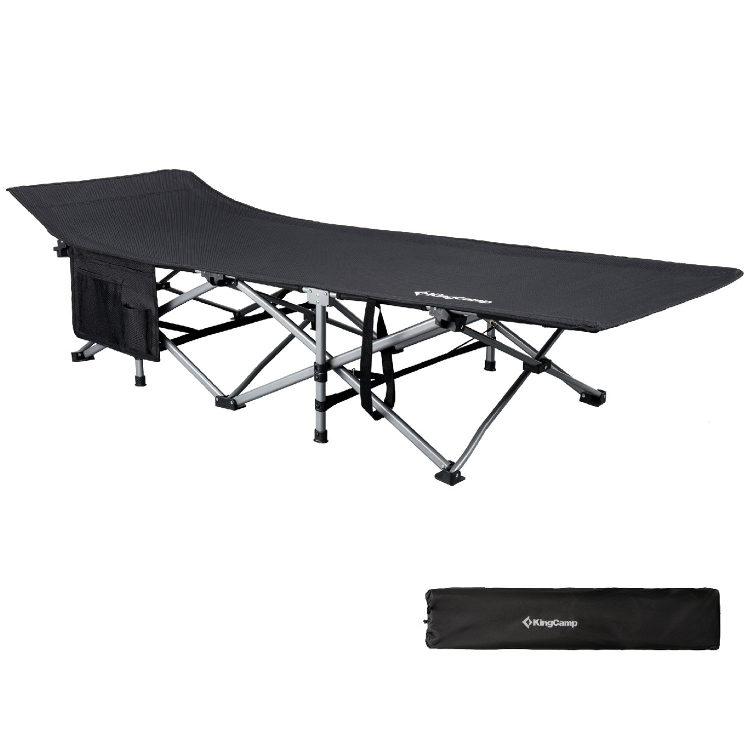 KingCamp Camping Cot XL Oversized Heavy Duty Folding Bed Aluminum Frame with Washable 1200D Jacquard Oxford Fabric, Support 440 lbs, Carry Bag Included, 82 x 29.5 x 15 inches by KingCamp