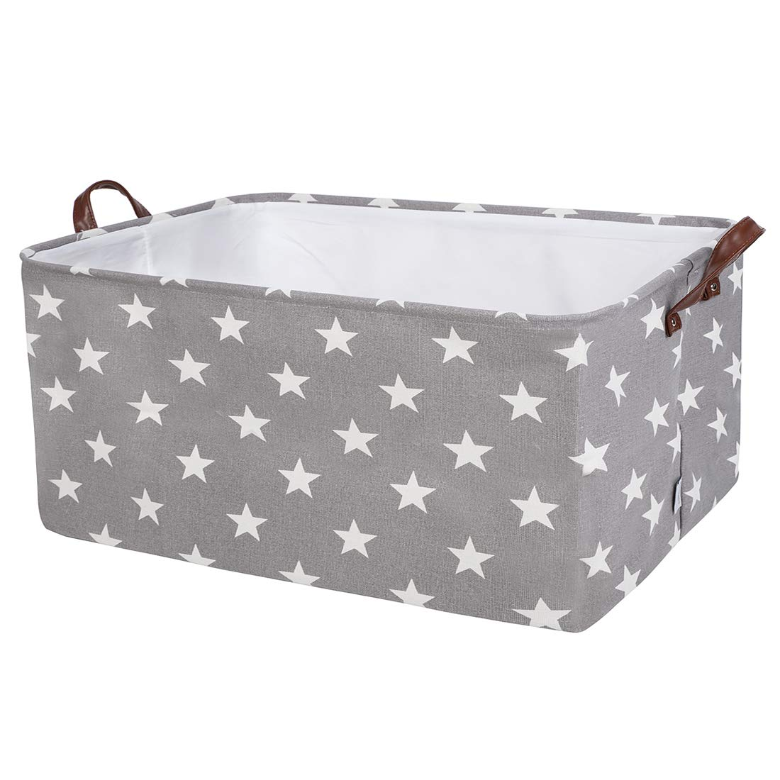 DOKEHOM DKA0622GSXL 22'' Thickened X-Large Storage Basket (8 Colors), Drawstring Canvas Underbed Storage, Square Cotton Linen Collapsible Toy Basket (Grey Star, XL)