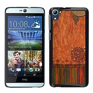 HTC Desire 826 dual Único Patrón Plástico Duro Fundas Cover Cubre Hard Case Cover - Pastel Crayon Art Drawing Tree