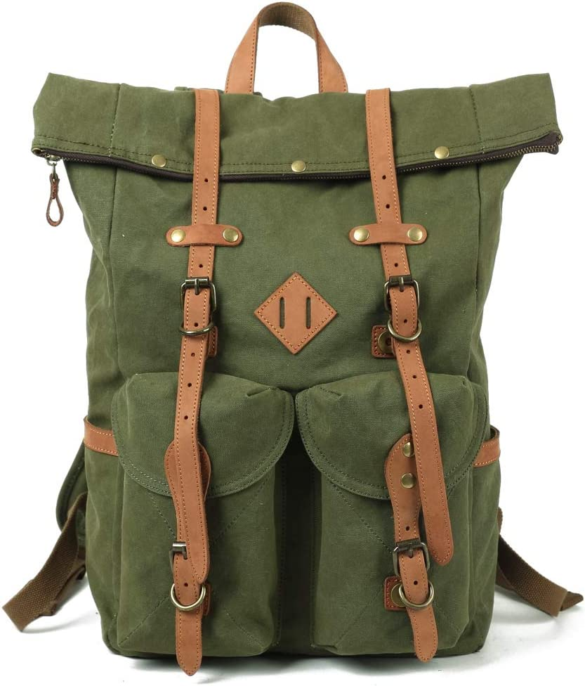 Kemy's Mens Canvas Backpack Leather Rucksack for Men Travel Backpacks Vintage Bookbag with Laptop Compartment Rustic Large Unisex Gifts Olive Green
