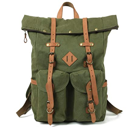 Amazon.com  Kemy s Mens Canvas Backpack Leather Rucksack for Men ... c66ff61f9c5bb