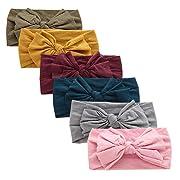 Prohouse 8PCS Super Stretchy Knot Nylon Baby Headbands For Newborn Baby Girls Infant Toddlers Kids (Stylish-6PCS)