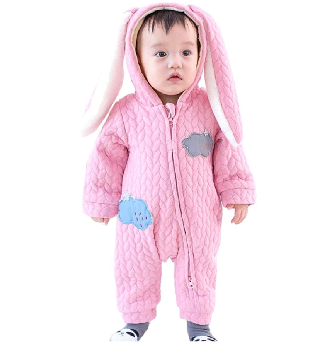 YUNY Newborn Baby Fall Winter Zip Up Cute Rabbit Pants Romper Playsuit Pink 80