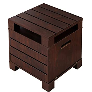 Crete Small Square Rustic Vintage Walnut Living Room End Table Sofa Side Table with Storage