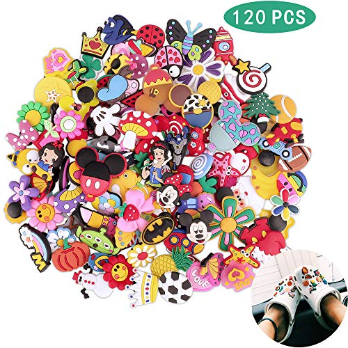 Greentime 120pcs Different Shoes Charms for Crocs Shoes & Wristband Bracelet Thanksgiving Gifts Christmas Party Suppiles(Mixed color)
