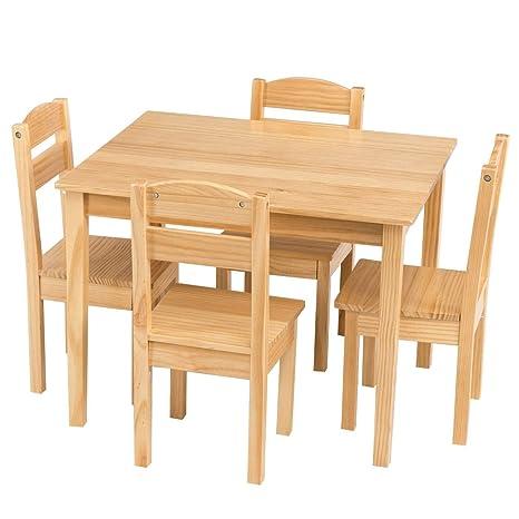 Amazon.com: LHONE - Juego de mesa y silla de madera para ...