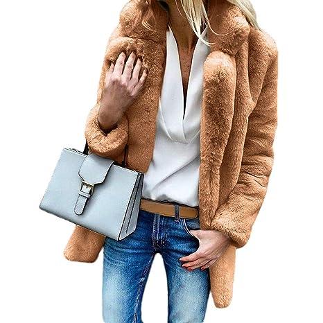 LILICAT Abrigo de piel de conejo de imitación de invierno caliente de las mujeres abrigo de