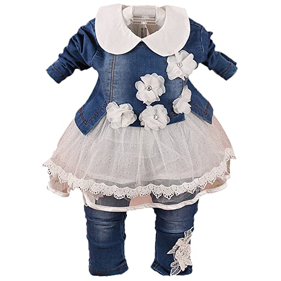 Scothen Ropa de niña bebé Set 3 piezas chaqueta+vestido de tutú+pantalones de
