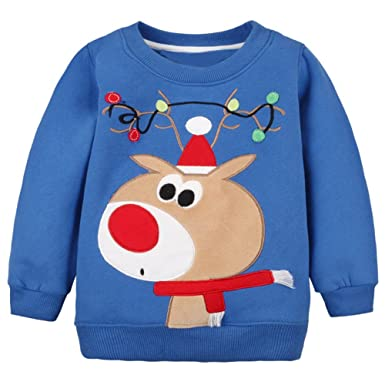 baby toddler boy christmas sweater cotton pullover sweatshirt bluedeer 24m