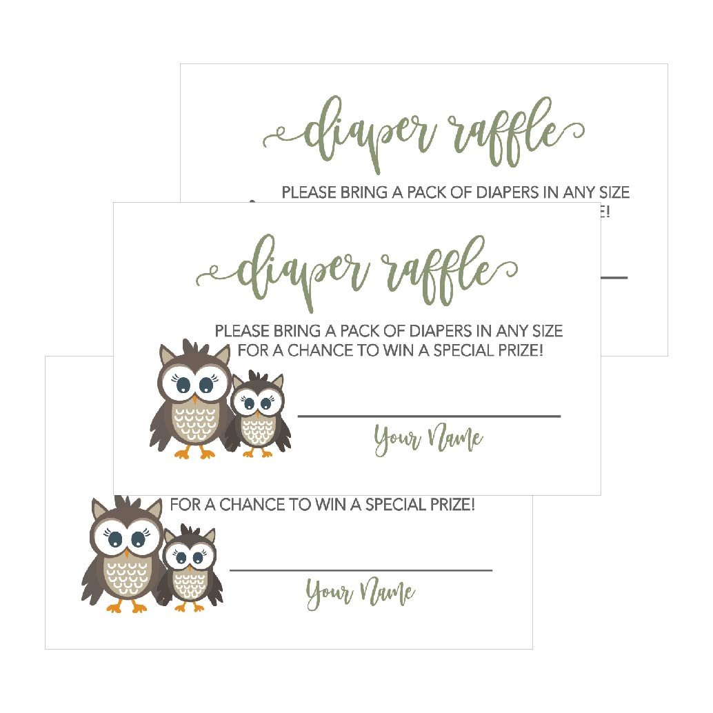 25 Owl Diaper Raffle Ticket Lottery Insert Cards For Woodland Boy or Girl Baby Shower Invitations, Supplies Games For Baby Gender Reveal Party, Bring a Pack of Diapers to Win Favors Gifts Prizes