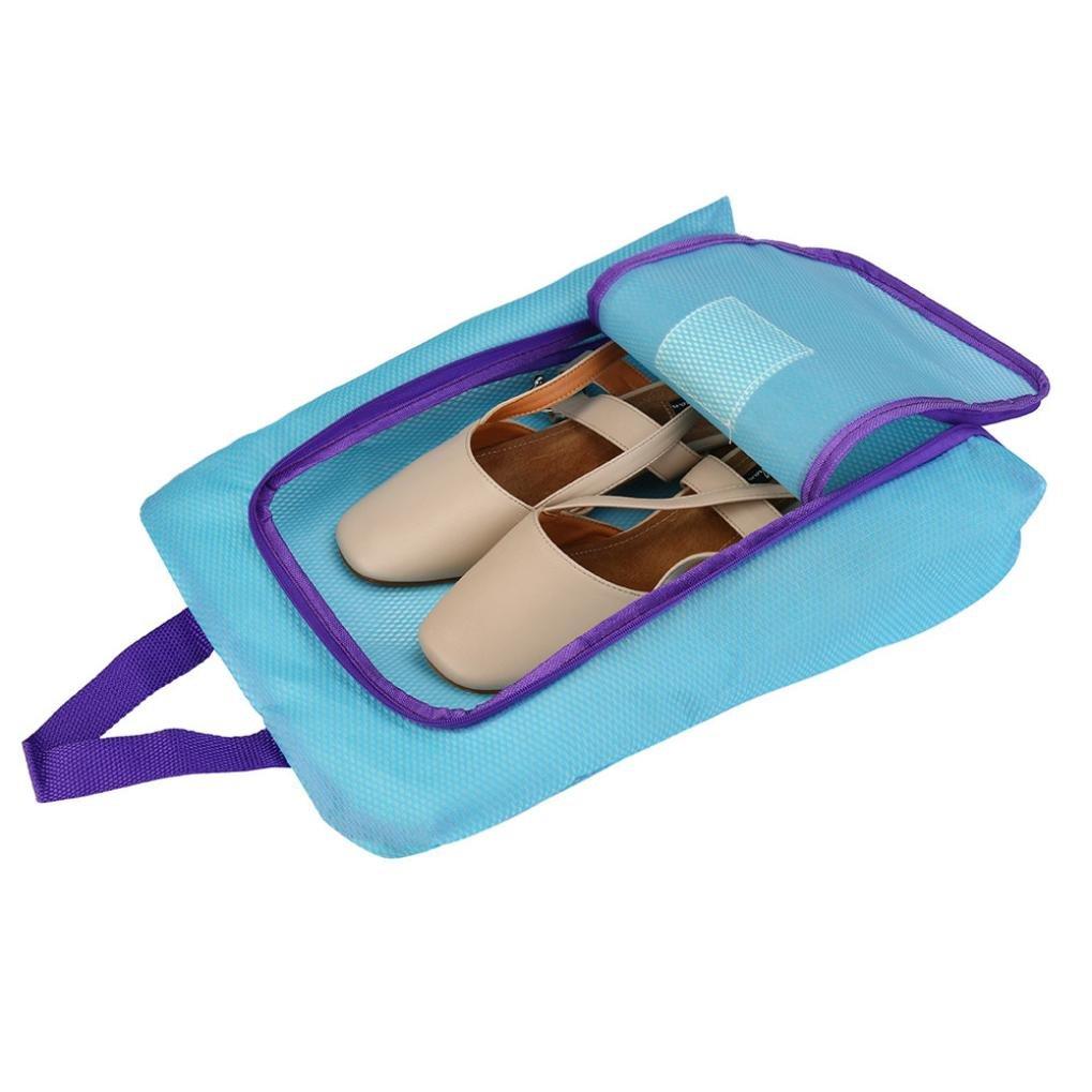 dacawinポータブル旅行靴バッグZipビューウィンドウポーチストレージ防水オーガナイザー ブルー B0741X37DN  ブルー