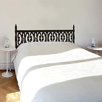 Cabecero de cama madera tallada pared de vinilo (negro, doble): Amazon.es: Hogar