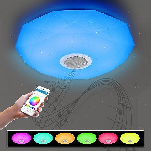 Bluetooth Deckenleuchte Dimmbar mit Bluetooth Lautsprecher 36W für ...