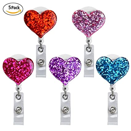 Qinsuee Love Heart Retractable ID//Name Badge Holder with Alligator Clip 4 Pack