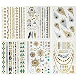 Wrapables A71411c Celebrity Inspired Metallic Gold Silver and Black (6 Sheets) Temporary Tattoos, Large, Feathers & Stars 6