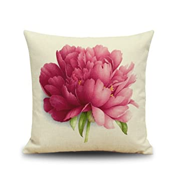 Amazon.com: Acelive 16x16 Inches Red Peony Flowers Cotton Linen ...