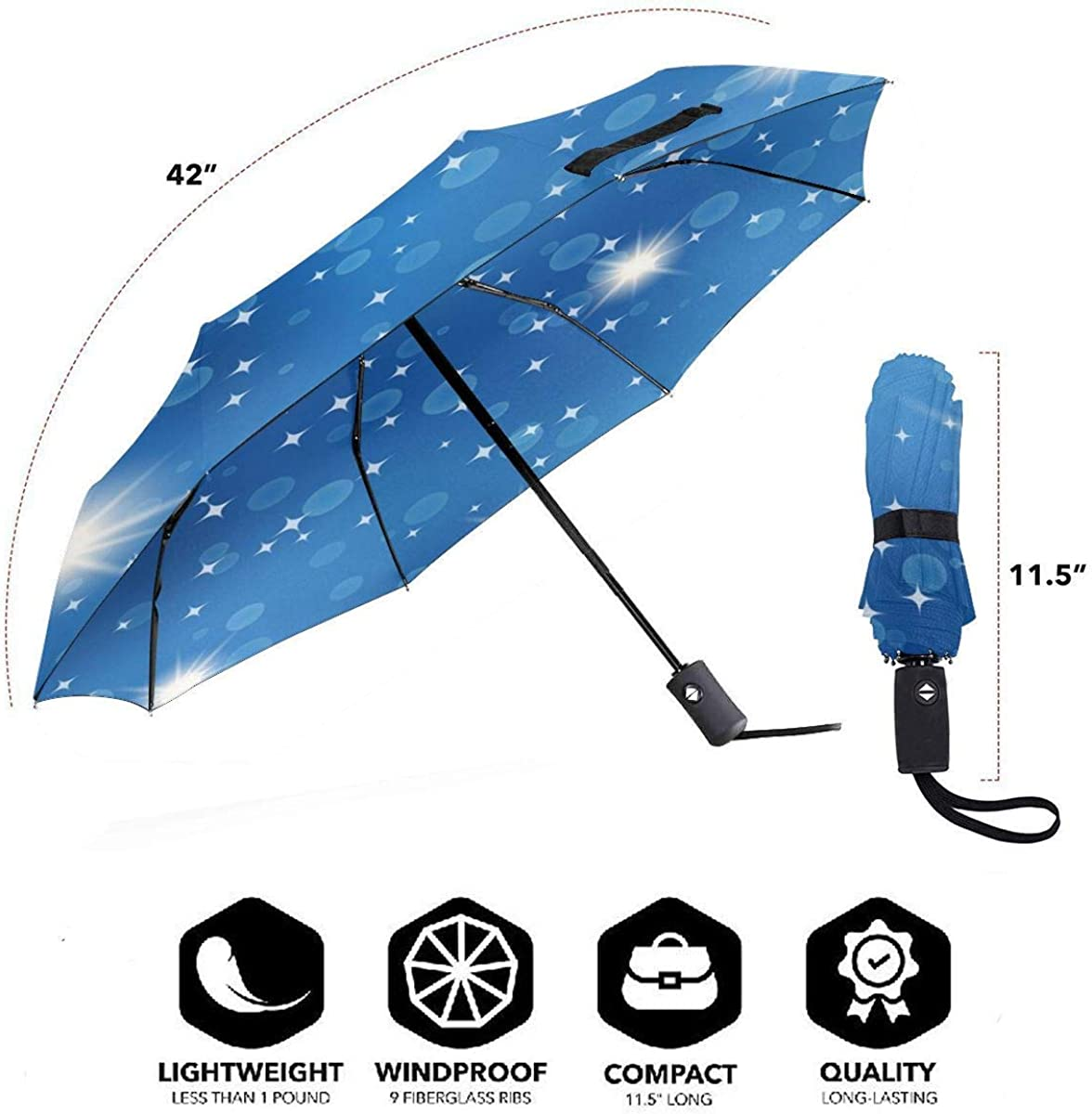 Starry Night Blue Flash Compact Travel Umbrella Windproof Reinforced Canopy 8 Ribs Umbrella Auto Open And Close Button Personalized