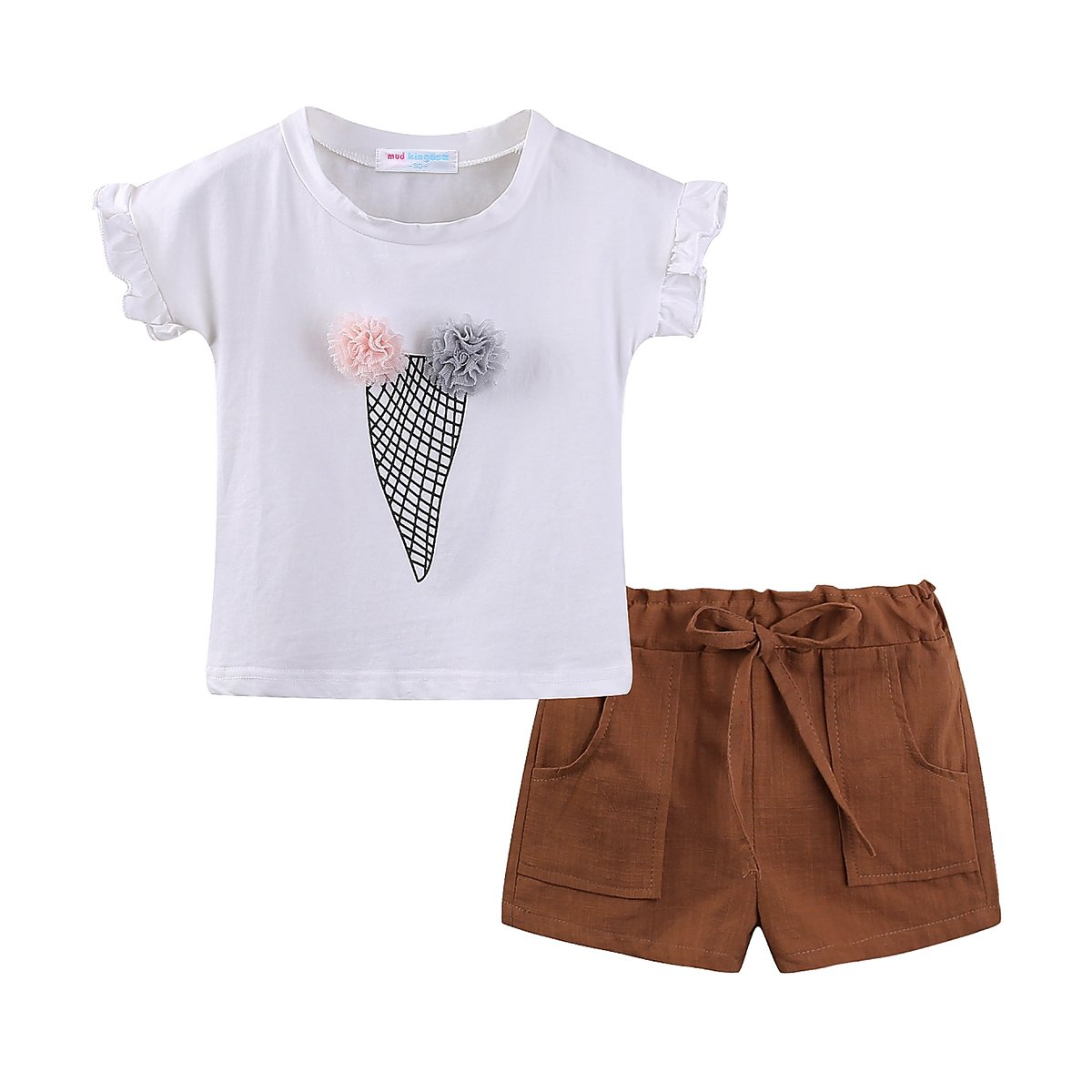 Mud Kingdom Little Girl Ice Cream Cone T-Shirt and Short Clothes Set 6-7T