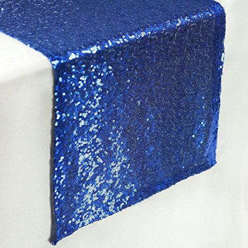 TRLYC 6 Pieces 12 by 108-Inch Wedding Navy Blue Sequin Table Runner, Navy Blue]()