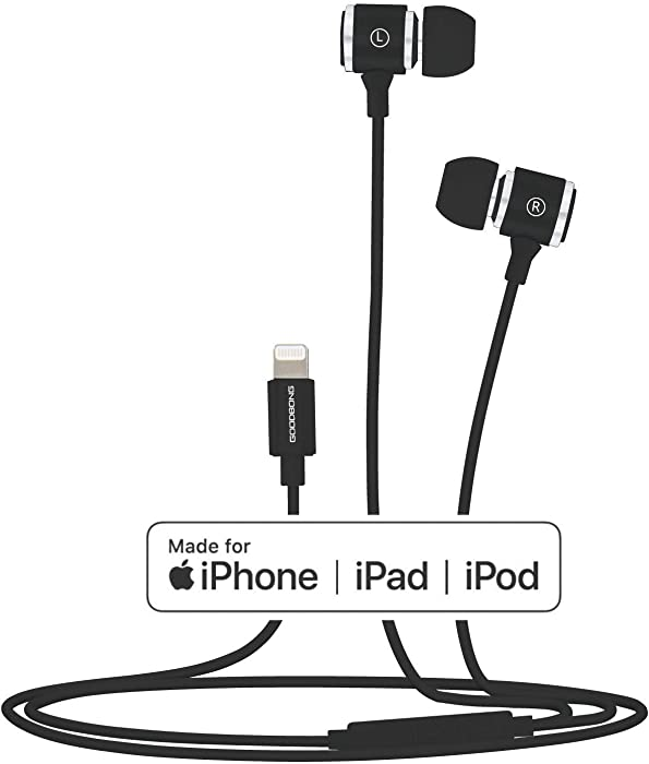 GOODBONG Bass Stereo Sound Headphones Compatible with iPhone 12 12Pro 12Pro Max/iPhone 11Pro iPhone X/XS Max/XR/iPhone8/8Plus/iPhone7/7Plus,MFi Certified Earbuds with Microphone Controller(Black)